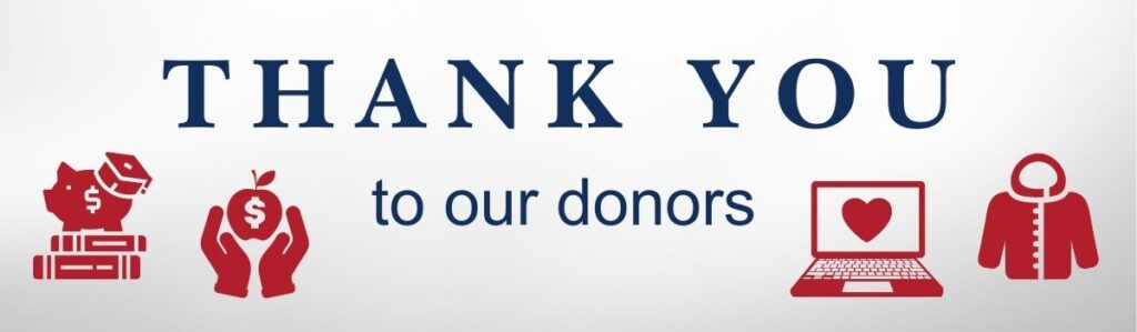"""A banner reads """"thank you to our donors"""" with icons of a piggy bank wearing a graduation cap, hands holding an apple, a computer, and a winter coat."""